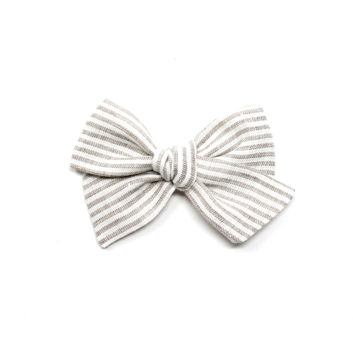 Mini Pinwheel Bow | Beige Stripe