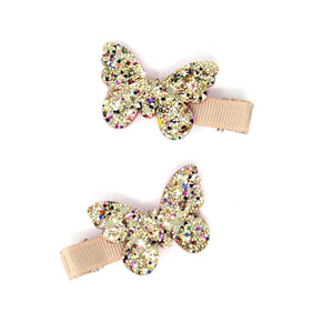 Butterfly Glitter Clips | Gold