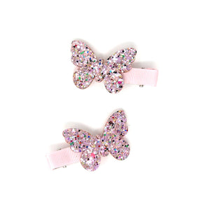 Butterfly Glitter Clips | Pink