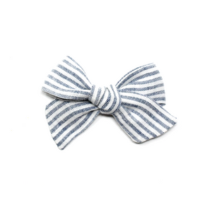 Mini Pinwheel Bow | Blue Stripe