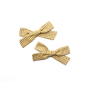 Petite Pigtail Bow Set | Tan Check