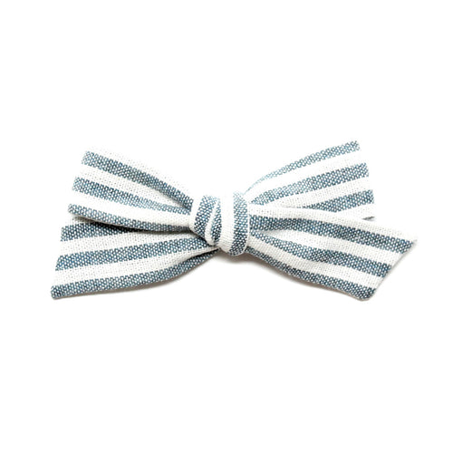 Regular Pigtail Bow | Chambray Stripe