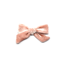 Load image into Gallery viewer, Petite Silk Velvet Bow | Pink Crepe