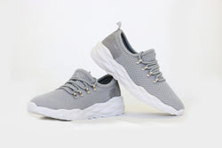 Qupid Light Grey Lace Up Sneakers