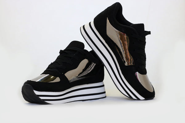 Black Reflective Platform Sneakers