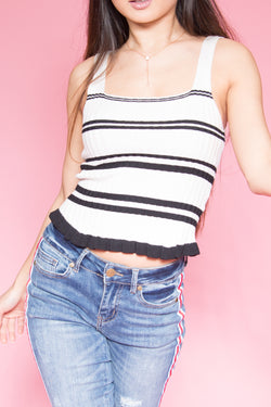 White Top With Black Stripes