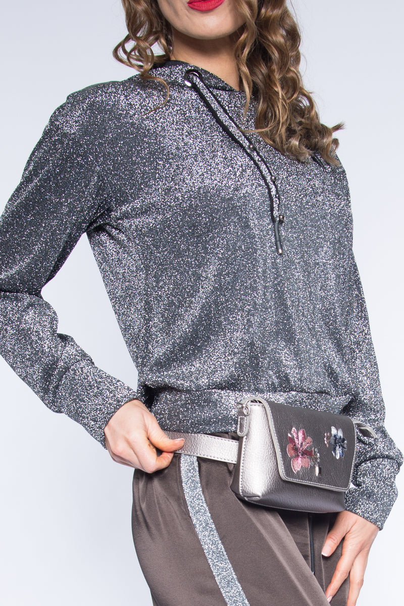 Grey Glitter Women Blouse