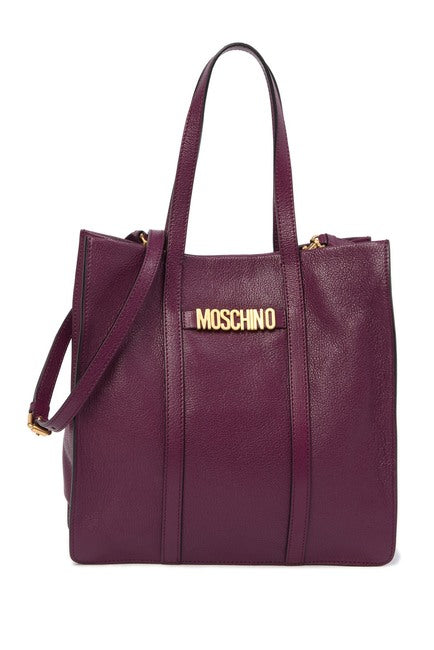 MOSCHINO Leather Brand Logo Tote Bag