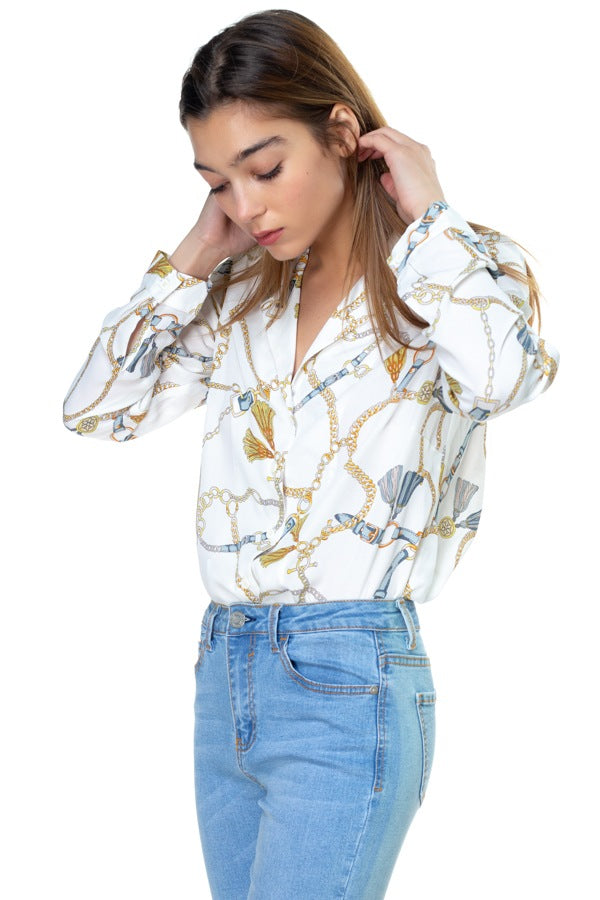Chain & Tassel Button Down Shirt