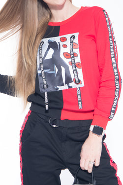 Black N' Red Kiss Sweater