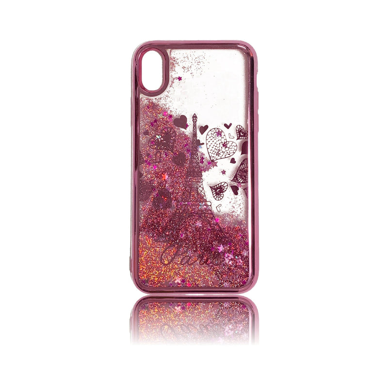 Liquid Glitter Eiffel Design Case - iPhone X/XS