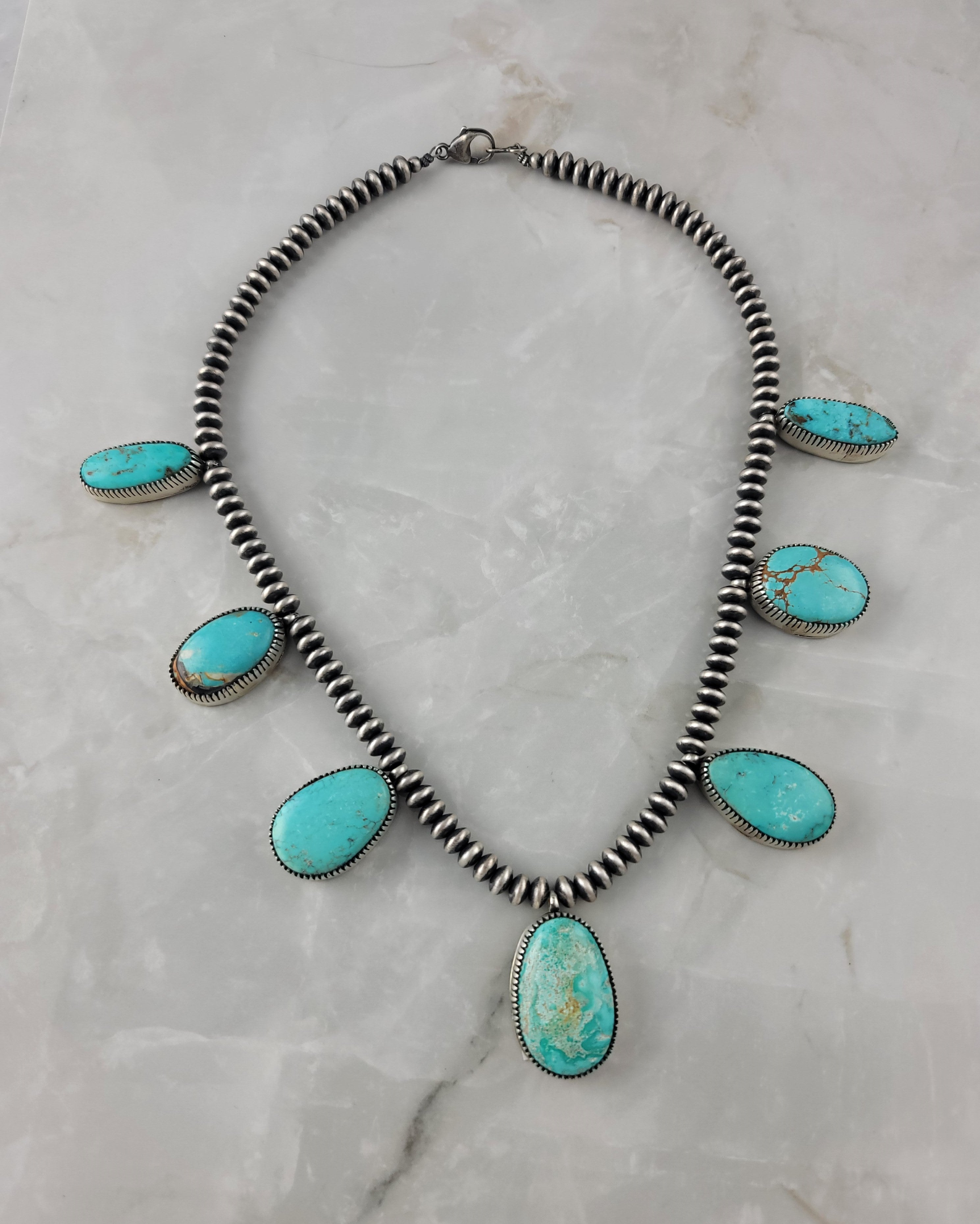 Sterling Silver Sierra Nevada Turquoise Drop Necklace