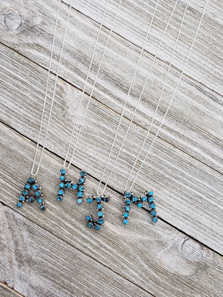 Turquoise Initials Letter Pendant w/ Chain Sterling Silver