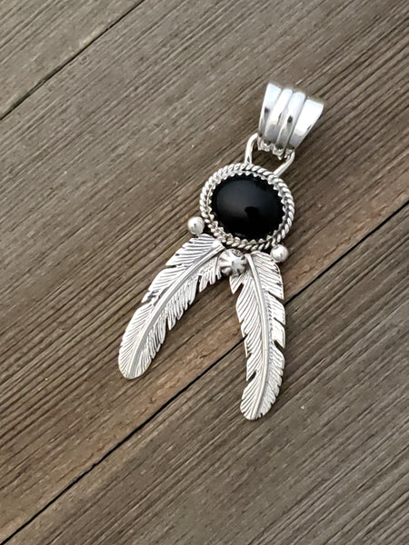 Sterling Silver Onyx Feather Pendant