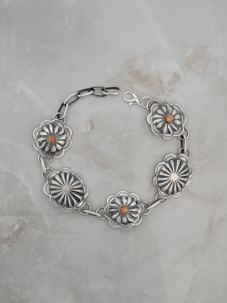 Sterling Silver Orange Spiny Oyster Concho Link Bracelet