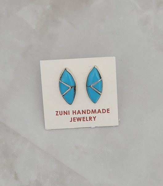 Turquoise Inlay Sterling Silver Stud Earrings