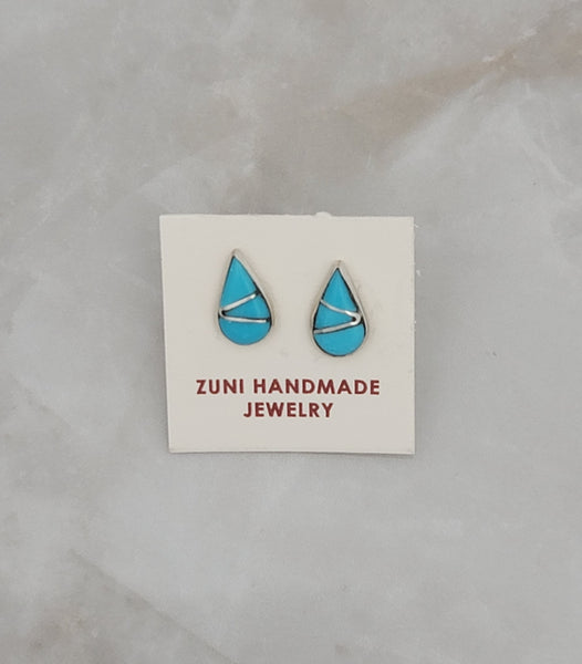Turquoise Tear Drop Inlay Sterling Silver Stud Earrings