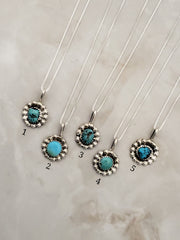 "Sterling Silver Genuine Turquoise Nugget Pendants w/18""Sterling silver chains"