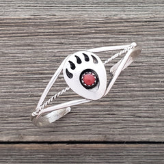 Esther White Sterling Silver Navajo Coral Bear Paw Baby Bracelet