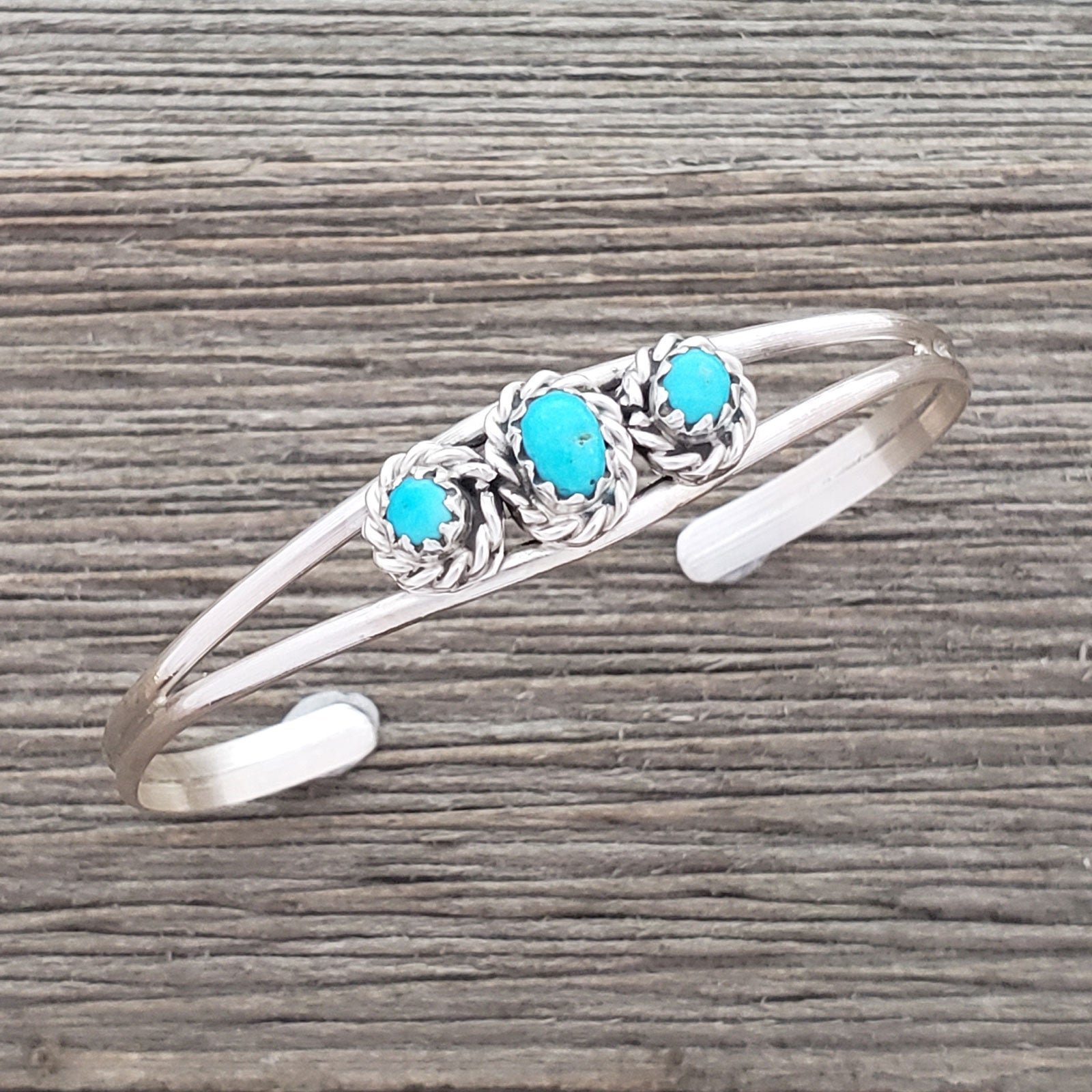 Elton Cadman Sterling Silver Navajo Turquoise 3-Stone Baby Bracelet