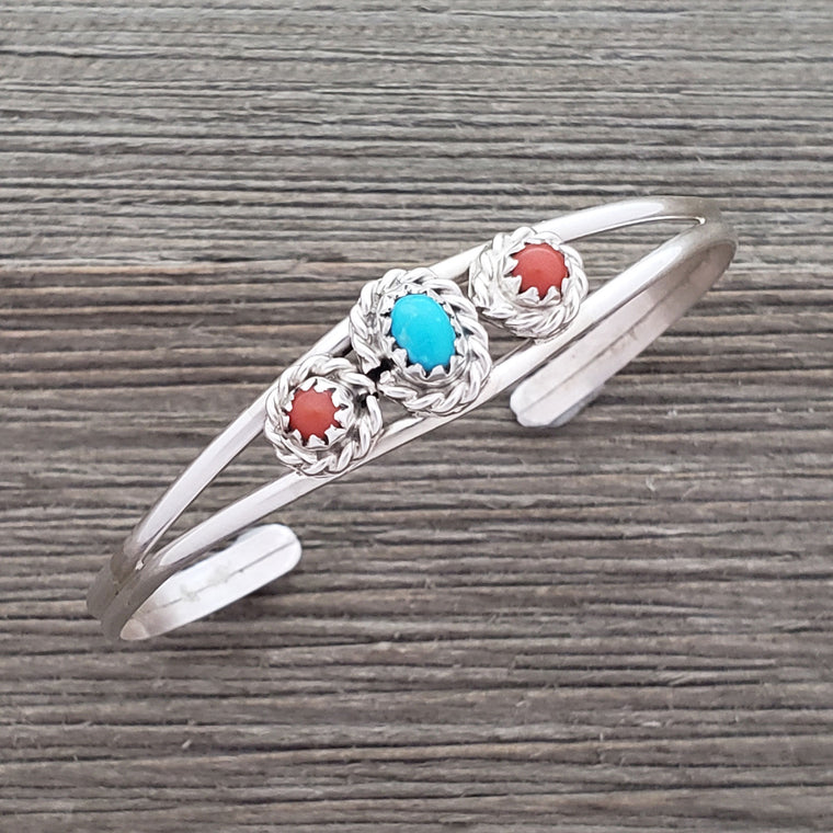 Elton Cadman Sterling Silver Navajo Turquoise & Coral 3-Stone Baby Bracelet