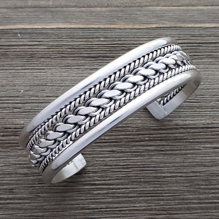 Elaine Tahe Sterling Silver Navajo Plain Rope Chain Wire 17mm Bracelet