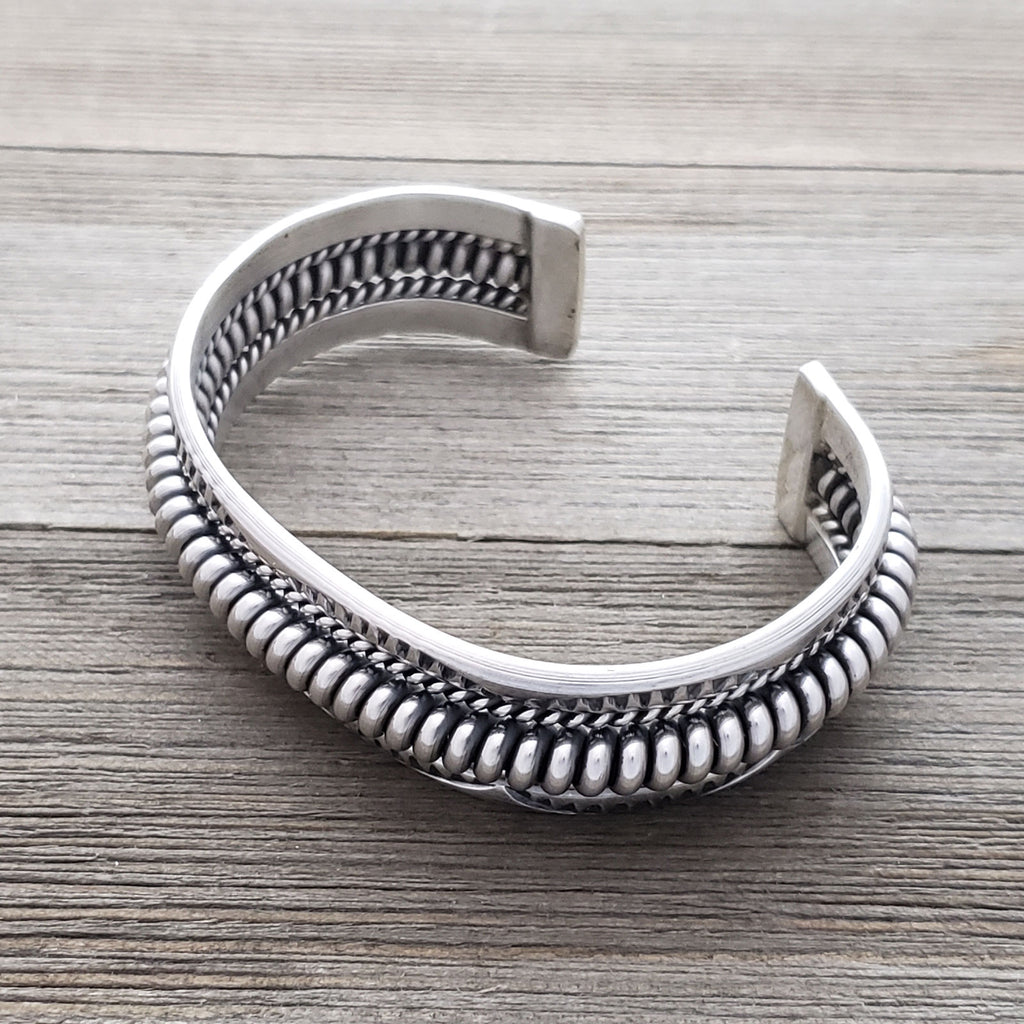 Navajo Sterling Rope Banded Smooth Bore Sterling Cuff Bracelet STERLING SILVER Elaine Tahe
