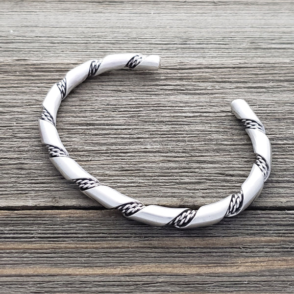 Elaine Tahe Sterling Silver Navajo Plain 2 Rope Twist 5mm Bracelet