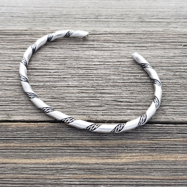 Elaine Tahe Sterling Silver Navajo Plain 2 Rope Twist 3.5mm Bracelet