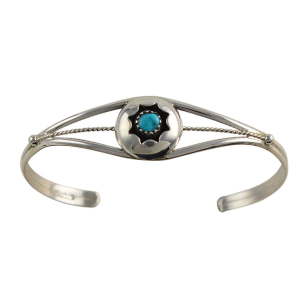 Esther White Turquoise Round Shadow Box Bracelet Navajo Sterling Silver - Turquoise925