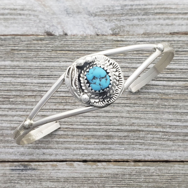 Esther White Sterling Silver Turquoise Leaf Navajo Cuff Bracelet