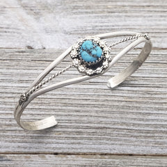Esther White Sterling Silver Turquoise Berry Drop Navajo Cuff Bracelet