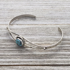 Esther White Sterling Silver Turquoise Twist Wire Navajo Cuff Bracelet