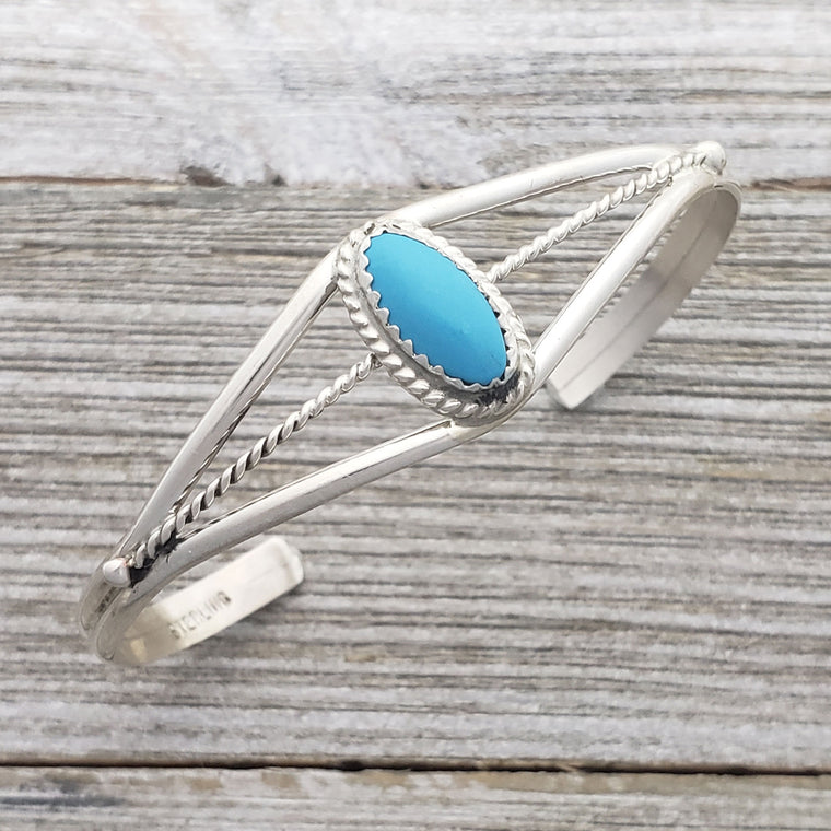 Janice White Sterling Silver Turquoise Oval Twist Wire Navajo Cuff Bracelet