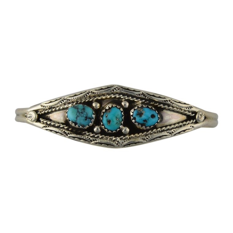Esther White Turquoise 3-Stone Bracelet Navajo Sterling Silver