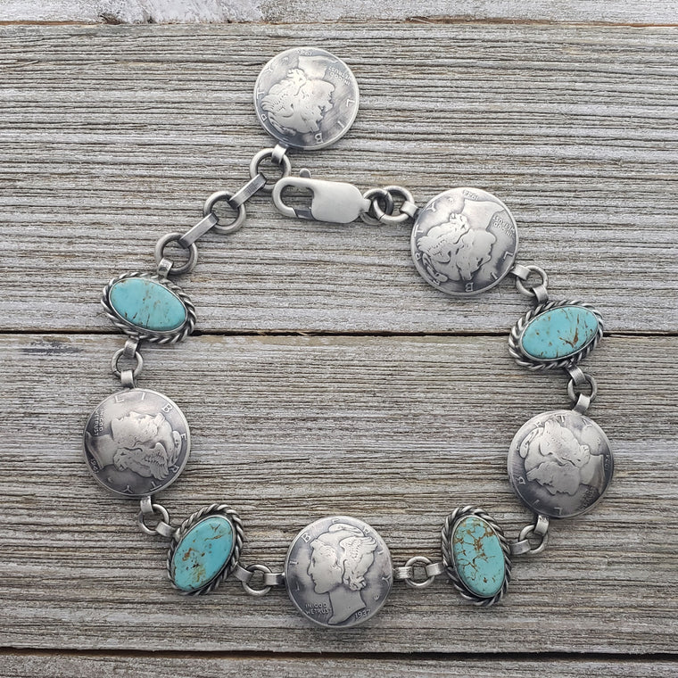 James McCabe Sterling Silver Turquoise & Mercury Dime Alternating Link Navajo Bracelet