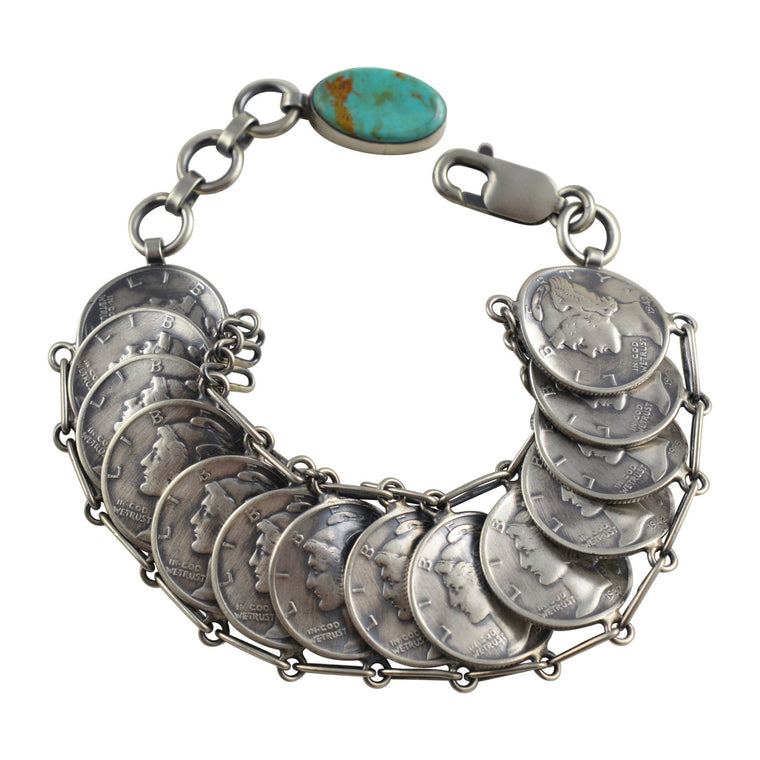 James McCabe Turquoise Mercury Dime Coin Link Bracelet Sterling Silver Navajo