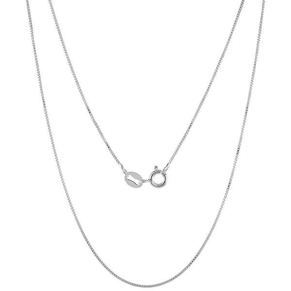 Sterling Silver Box 0.7mm Necklace Thin Fine Chain Italy