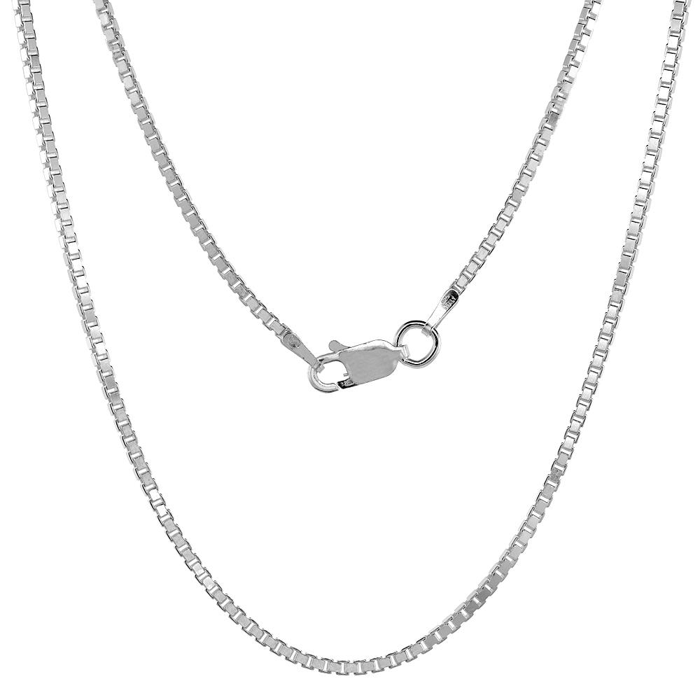 Sterling Silver Box 1.7mm Necklace Chain Italian Italy