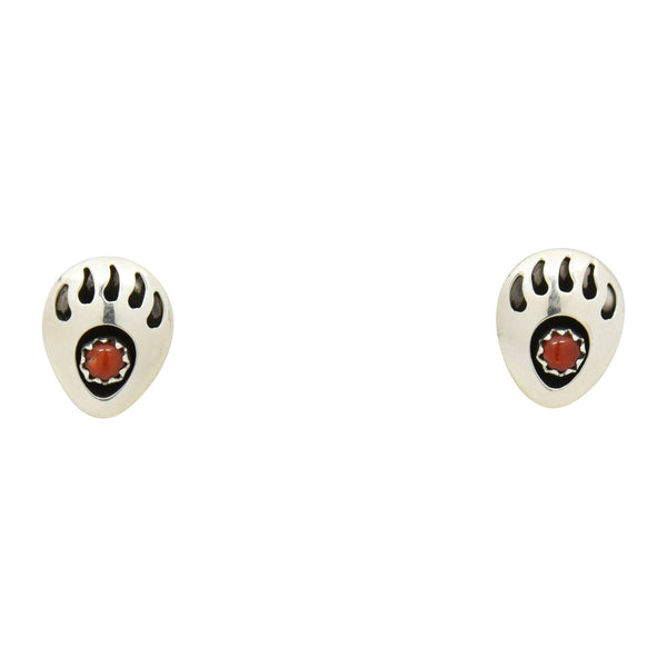 Leta Parker Coral Mini Bear Paw Stud Earrings Sterling Silver - Turquoise925