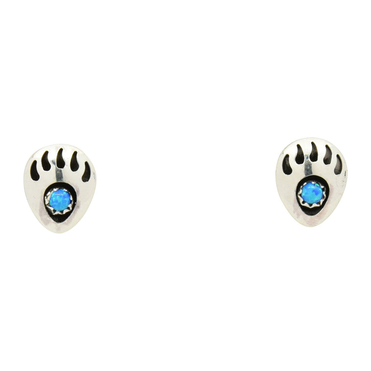 Leta Parker Blue Lab Opal Mini Bear Paw Stud Earrings Sterling Silver