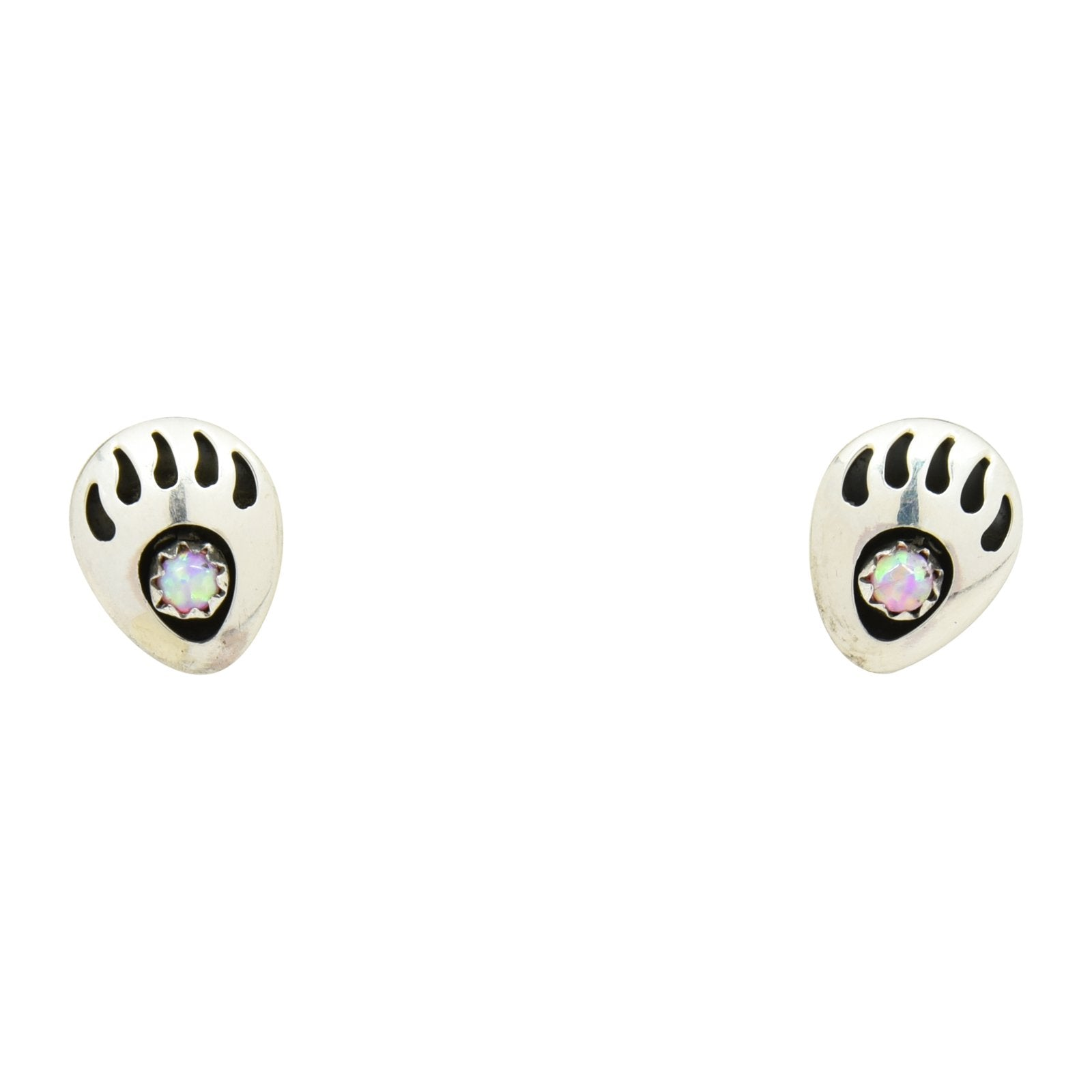 Leta Parker Pink Lab Opal Mini Bear Paw Stud Earrings Sterling Silver - Turquoise925