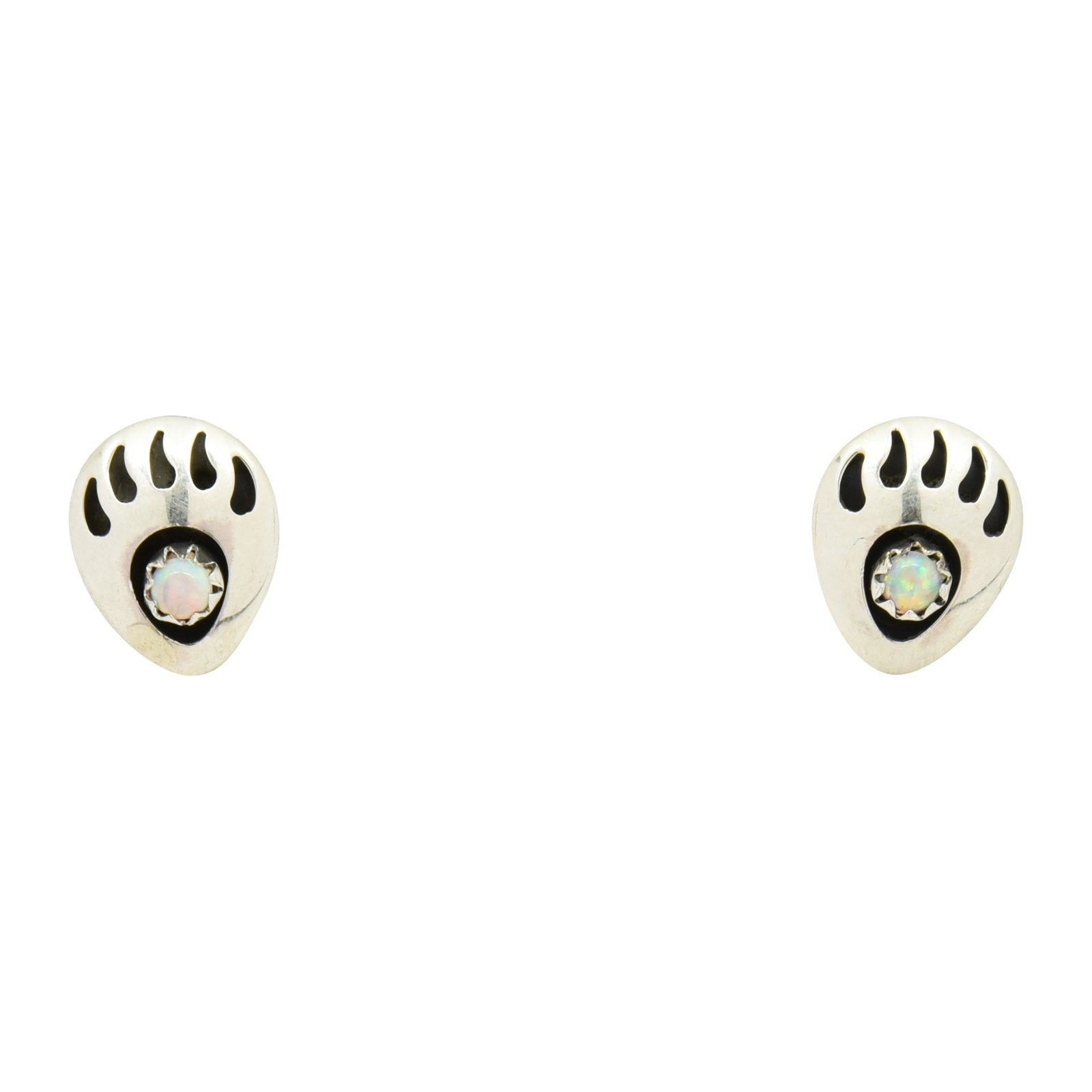 Leta Parker White Lab Opal Mini Bear Paw Stud Earrings Sterling Silver - Turquoise925