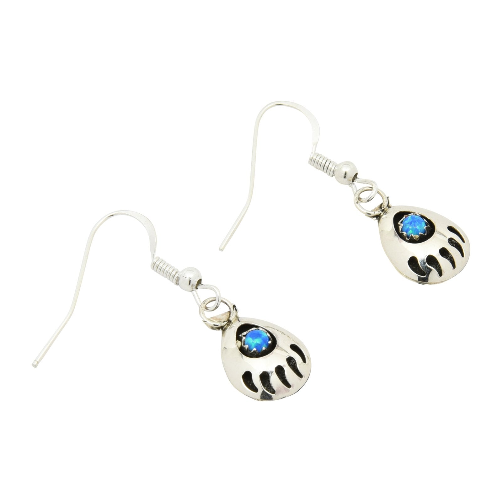 Leta Parker Blue Lab Opal Mini Bear Paw Dangle Earrings Sterling Silver - Turquoise925