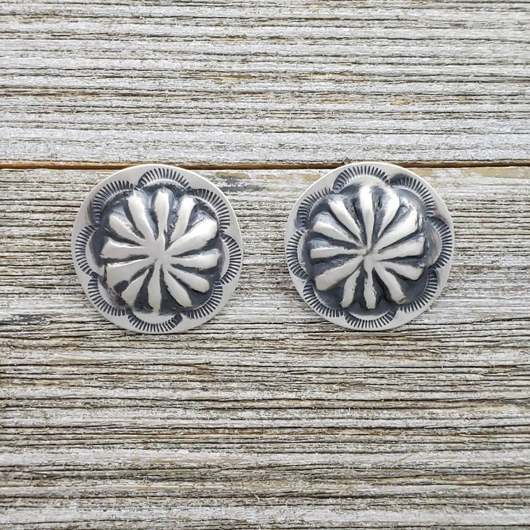 Ryan Begay Sterling Silver Navajo Concho Round Post Earrings