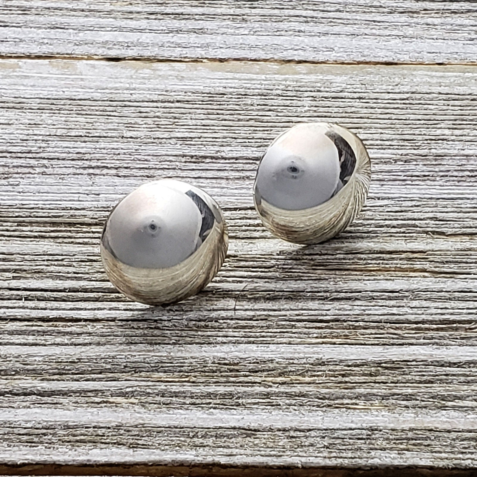 Esther White Sterling Silver Navajo Round Domed Plain Earrings 9/16""