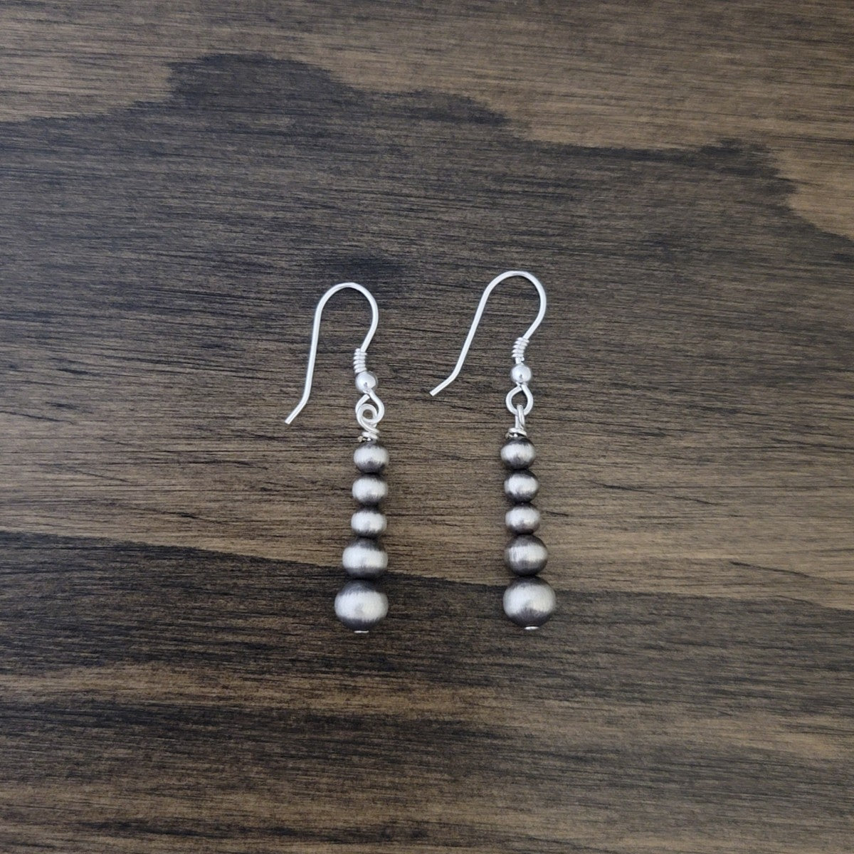 Navajo Pearls Graduated Short Drop Dangle Earrings Sterling Silver