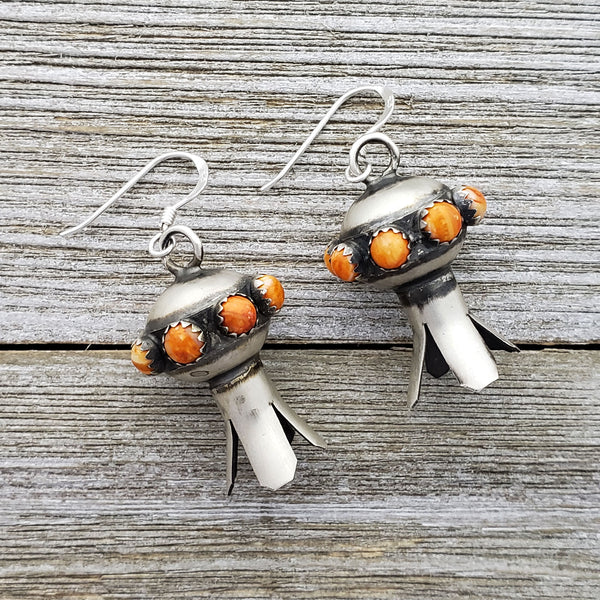 Monica Smith Sterling Silver Navajo Orange Spiny Oyster Squash Blossom Earrings