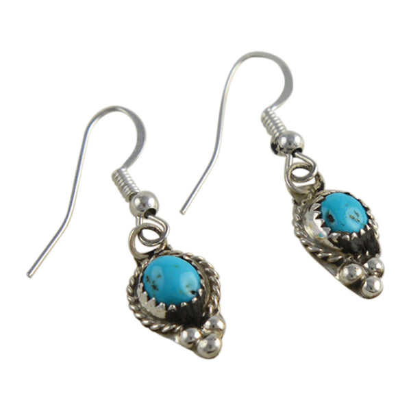 Esther White Turquoise Dangle Earrings Navajo Sterling Silver - Turquoise925