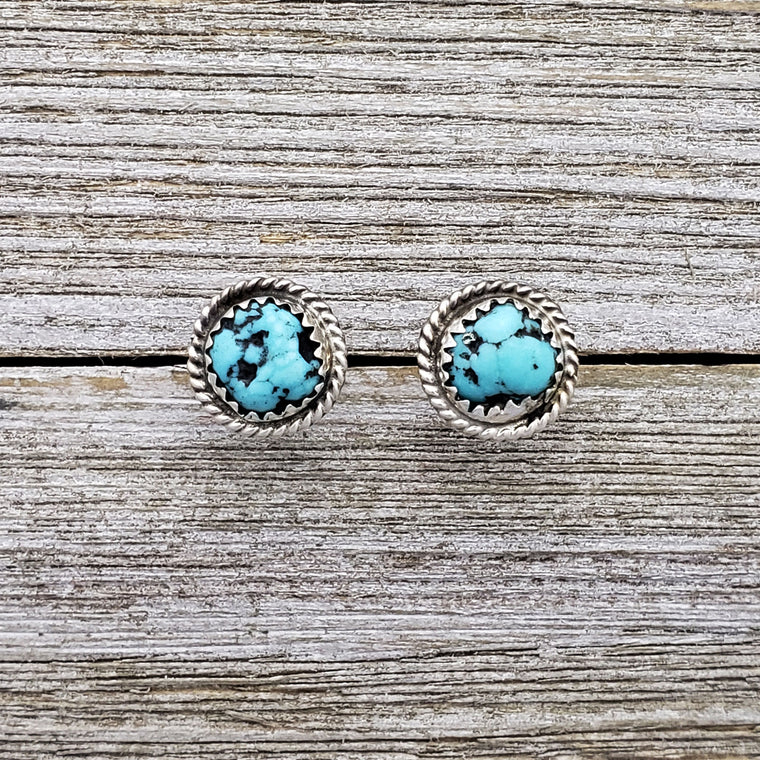 Esther White Sterling Silver Navajo Turquoise Twist Wire Post Earrings